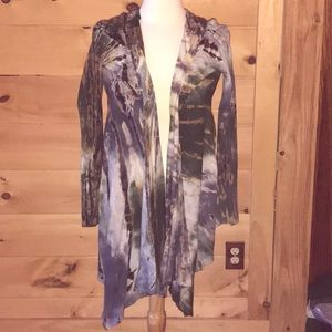 Th Pyramid Collection tie-dyed lightweight cardi